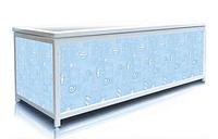 Экран под ванну 140 см, голубые ракушки, пластиковый каркас