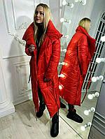 Женский стильный длинный зимний пуховик на завязках