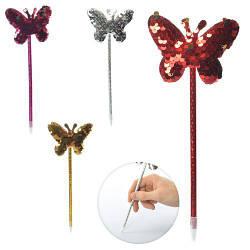 Ручка шариковая, синий, бабочка, пайетки, 4 цвета, 22см, MK2446-3
