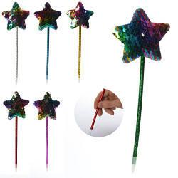 Ручка шариковая, синий, звезда, пайетки, 6 цветов, 22,5см, MK2446-13