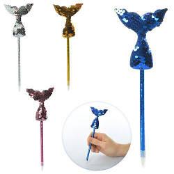 Ручка шариковая, синий, хвост русалки, пайетки, 4 цвета, 21см, MK2446-4