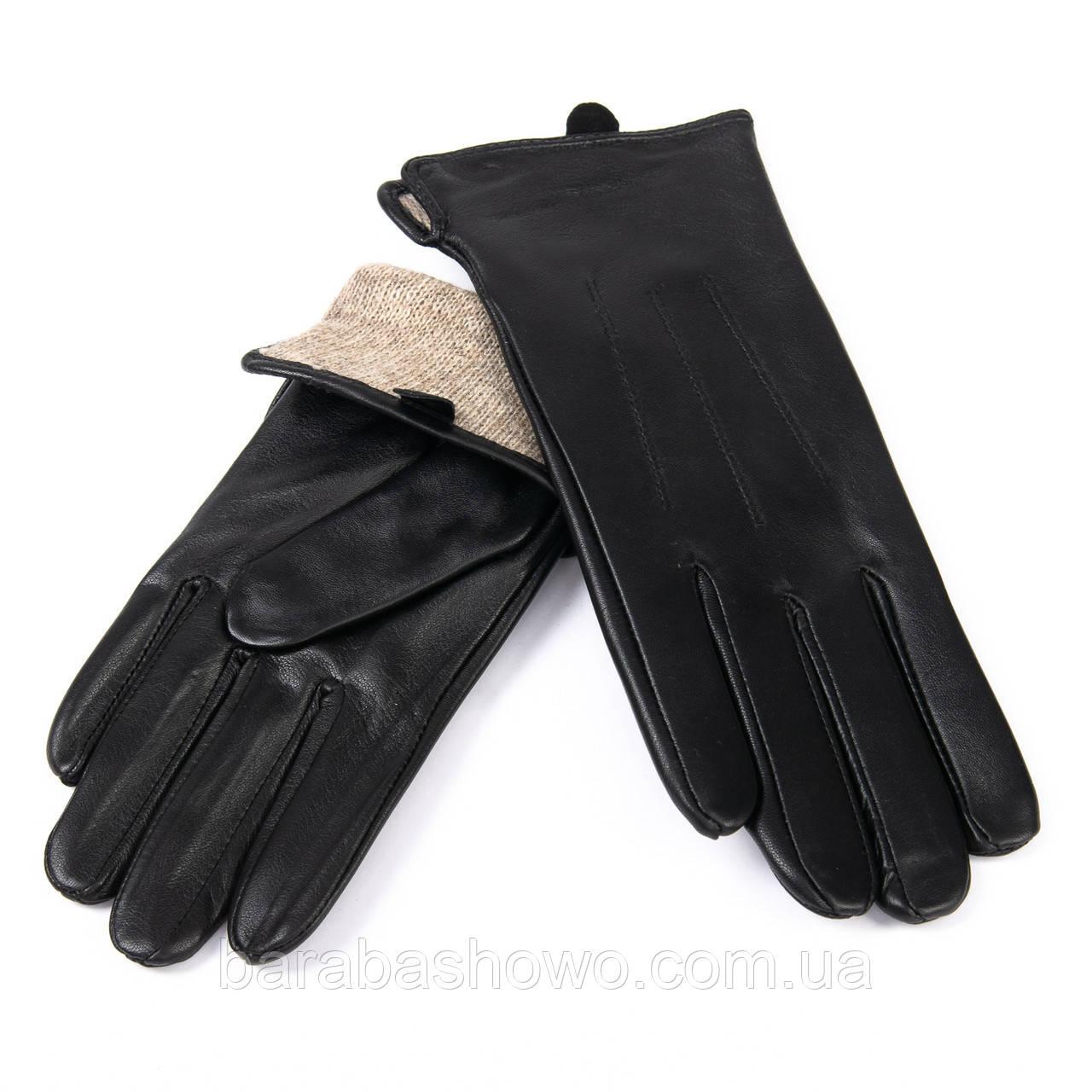 Кожаные женские перчатки с шерстяной подкладкой. F31/19 мод1