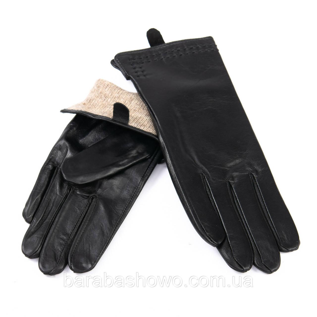 Кожаные женские перчатки с шерстяной подкладкой. F31/19 мод3