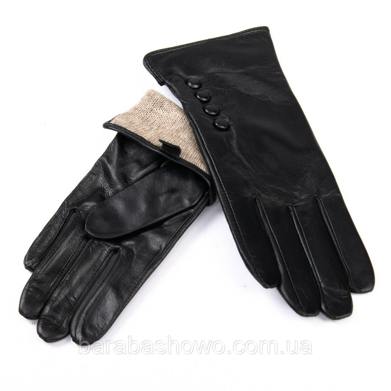 Кожаные женские перчатки с шерстяной подкладкой. F31/19 мод5