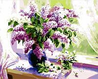 Картина по номерам в коробке Mariposa Сирень на окне 40Х50см Q847