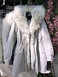 Розовая куртка парка с натуральным мехом арктической лисы на капюшоне, фото 2