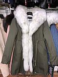 Розовая куртка парка с натуральным мехом арктической лисы на капюшоне, фото 4