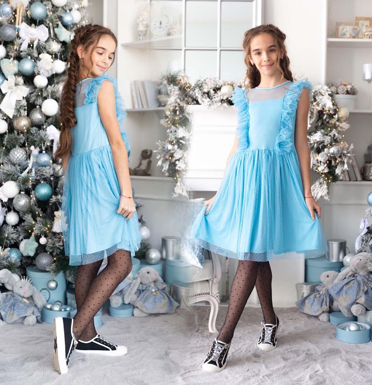 """Детское стильное нарядное платье 531 """"Кристалл Сетка Точки Рюши"""" в расцветках"""