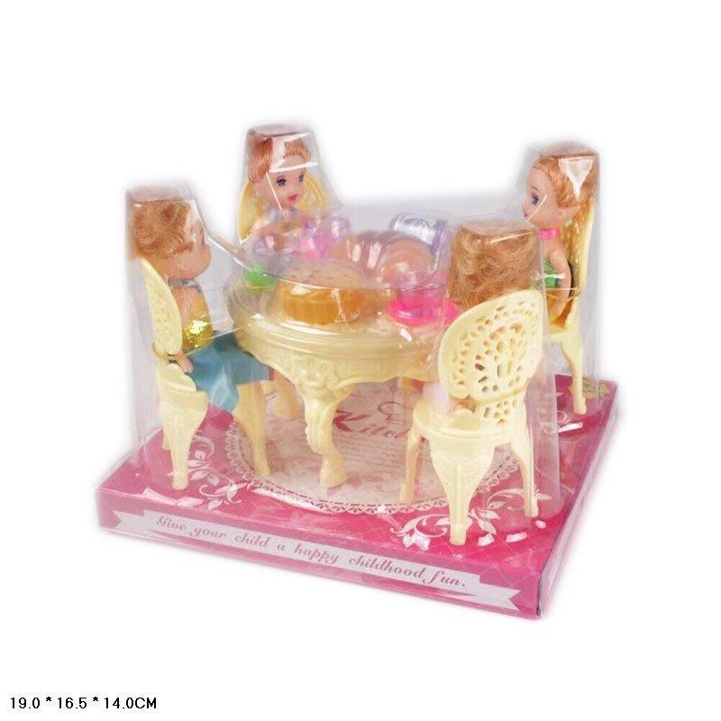 Столовая, стол, стулья, кукла 10см 4шт, посуда, продукты, A8-85