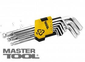 MasterTool  Ключи шестигранные набор 9 шт CrV удлиненные с шар.нак(1,5-10мм L74-172мм), Арт.: 75-0957