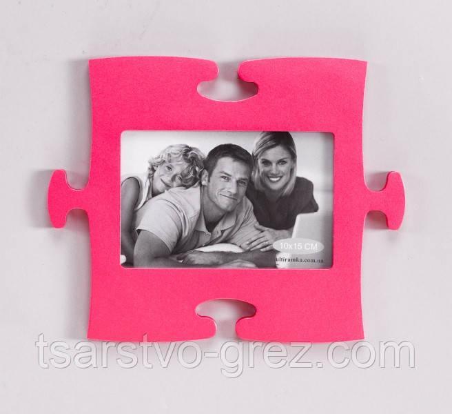 Фоторамка-пазл розового цвета
