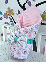 Детский конверт на выписку из роддома 100% хлопок + розовый плюш, для девочки утепленный