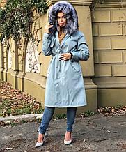 Голубая куртка парка с натуральным мехом лисы чернобурки на капюшоне