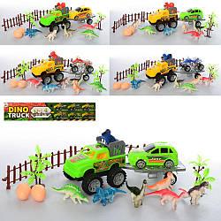 """Игровой набор """"Ферма"""", джип с прицепом, транспорт, динозавры, яйца, забор, 5 видов, 900-32-33-34"""