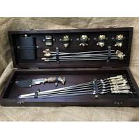 """Премиум-набор в подарок мужчине - шампура """"Успешная охота"""", мангал, нож, чарки, фляга) в кейсе из дерева"""