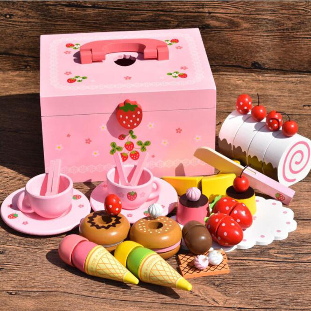 Деревянная кухня Притворись Play Toy Кукла Аксессуары для дома Сладкие принцы Мороженое Готовим пазл - 1TopShop