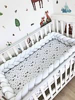 Бортик коса в детскую кроватку Белая