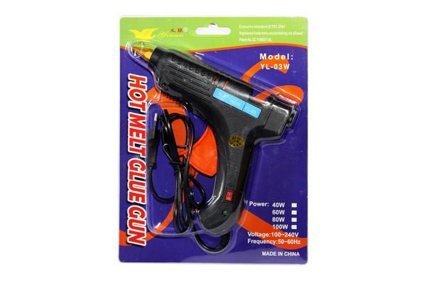 Пистолет для термоклея, д.=1,1мм, 60W, с индекатором включения, в слюде 27*21см., YL-03W