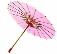 Зонт бамбук с бумагой малиновый  (d-30 см h-23 см)