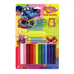 Пластилін 12 кольорів, 200 гр, 4 формочки + скалка, ST-200-12+4SM/R