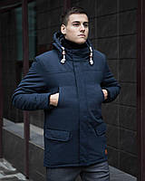Парка зимняя мужская Размеры S M L XL  Элит (V2) темно-синяя / Тёплая куртка длинная