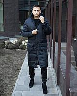 "Куртка зимняя мужская Размеры S M L XL ""Танк"" длинная  парка темно-синя"
