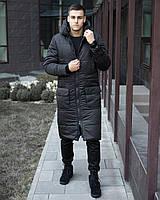 """Куртка зимняя мужская Размеры S M L XL """"Танк"""" длинная парка черная"""