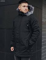 Парка мужская зимняя (Размеры XS,S,M,L,XXL) Staff eco black черная