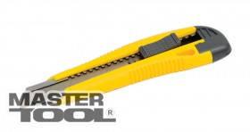 MasterTool  Нож 18 мм ABS пластик с металлической направляющей  кнопочный фиксатор 2 лезвия, Арт.: 17-0106