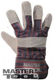 """MasterTool  Перчатки комбинированные из замши и ткани, цельная ладонь, 10,5"""",  190-200 г, Арт.: 83-0702"""