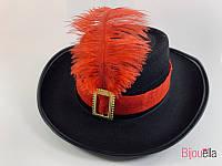 Шляпа мушкетера маленькая черная, 6шт.