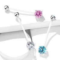 Пирсинг в пупок для беременных с голубым камнем Spikes NPG-1014-Q, фото 1