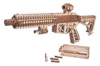 Штурмова гвинтівка ART Дерев'яний 3D пазл Wood Trick (механічний дерев'яний конструктор)