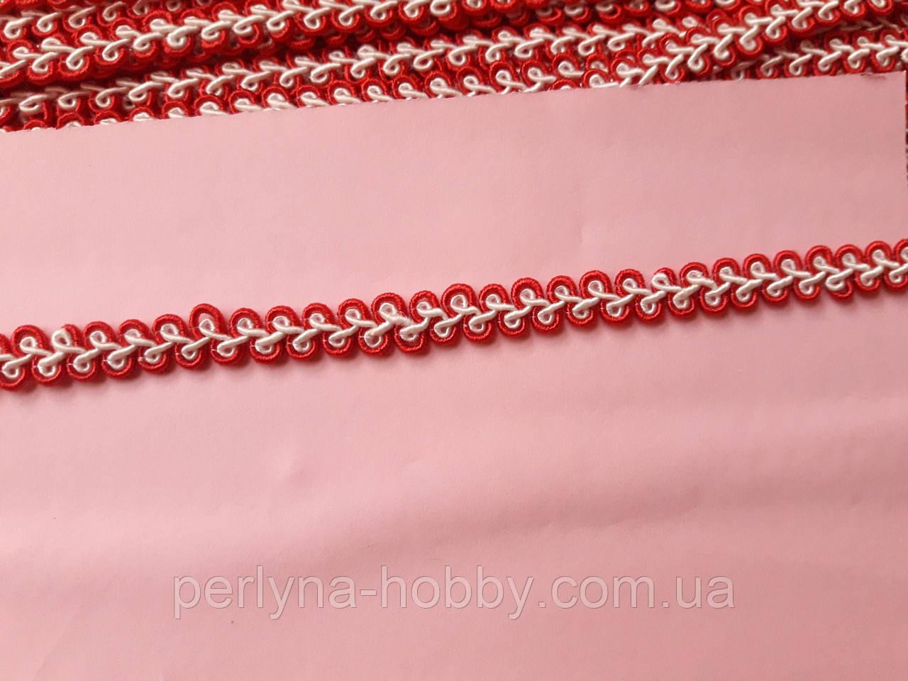Тасьма  декоративна шанель вузька 6-7 мм, червона зі салатовим