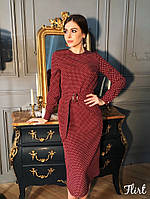 Элегантное платье в горошек с поясом Есения, фото 1