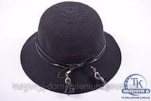 Шляпа женская с полями (цв.черный) розочки