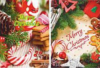 """Новогодний полиэтиленовый пакет подарочный с вырубной ручкой (25*35+3) """"Merry Christmas"""" ХВГ (25 шт)"""