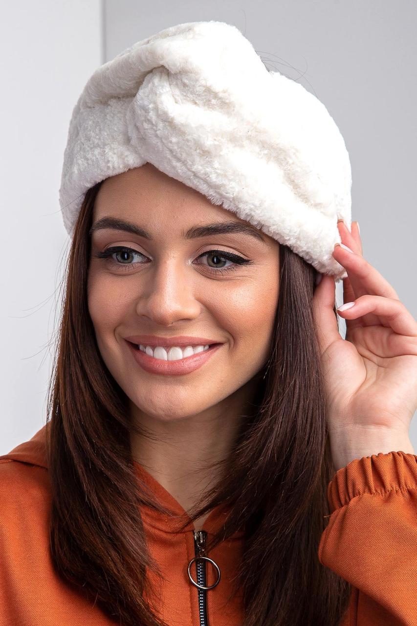 Теплая плюшевая повязка на голову молочного цвета