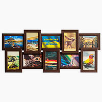 Деревянная мультирамка на 10 фото История 10, шоколад (венге)
