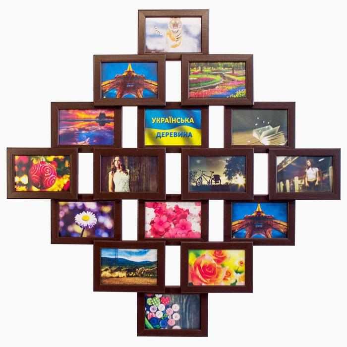 Деревянная мультирамка на 16 фото Фантазия 16, шоколад (венге)