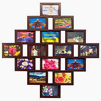 Деревянная мультирамка на 16 фото Фантазия 16, шоколад (венге), фото 1