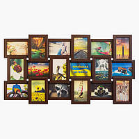 Деревянная мультирамка на 18 фото История 18, шоколад (венге), фото 1