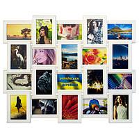 Деревянная мультирамка на 20 фото Классика 20, белая, фото 1