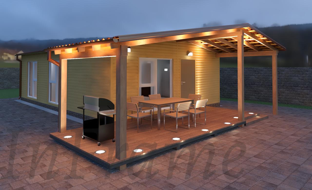 Модульный дом с террасой (64м2 + 20м2)
