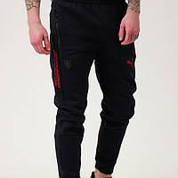 Спортивные штаны мужские зимние чёрные puma ferrari