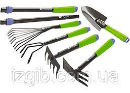 Набір інструменту садовий, совок, граблі віялові, розпушувач