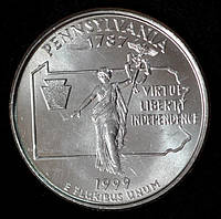 Монета США 25 центов 1999 г. Пенсильвания