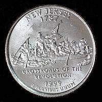 Монета США 25 центов 1999 г. Нью - Джерси