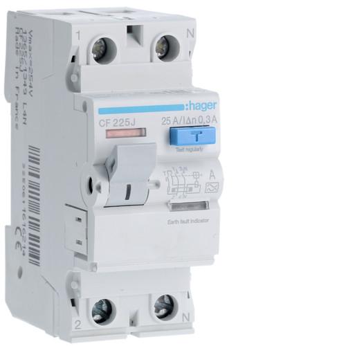 Устройство защитного отключения Hager (ПЗВ) 2P 25A 300mA A (CF225J)