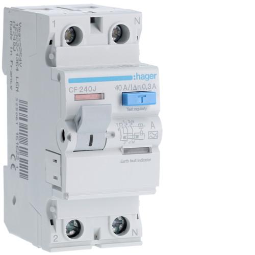 Устройство защитного отключения Hager (ПЗВ) 2P 40A 300mA A (CF240J)